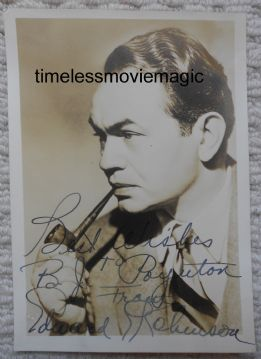 Edward G Robinson Hollywood Actor - Original Autograph